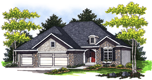 European, One-Story House Plan 73012 with 2 Beds, 2 Baths, 3 Car Garage Elevation