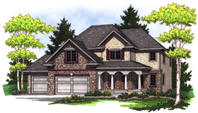 European House Plan 73014 with 4 Beds, 3 Baths, 3 Car Garage Elevation