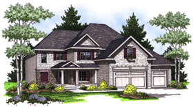 Traditional House Plan 73019 with 4 Beds, 3 Baths, 3 Car Garage Elevation