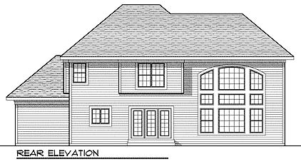 Traditional House Plan 73019 with 4 Beds, 3 Baths, 3 Car Garage Rear Elevation