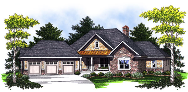 Bungalow, One-Story, Traditional House Plan 73022 with 3 Beds, 3 Baths, 3 Car Garage Elevation