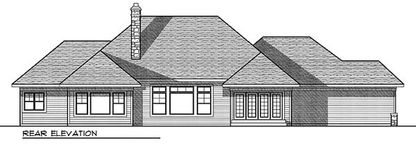 Bungalow, One-Story, Traditional House Plan 73022 with 3 Beds, 3 Baths, 3 Car Garage Rear Elevation