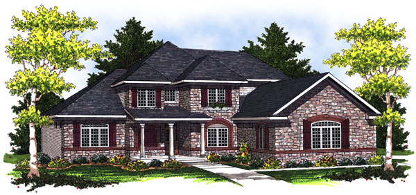 House Plan 73024 | European Traditional Style Plan with 2772 Sq Ft, 4 Bedrooms, 4 Bathrooms, 3 Car Garage Elevation