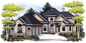 House Plan 73027 | European Style Plan with 3256 Sq Ft, 4 Bedrooms, 4 Bathrooms, 3 Car Garage Elevation
