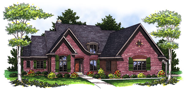 European Tudor House Plan 73028 Elevation