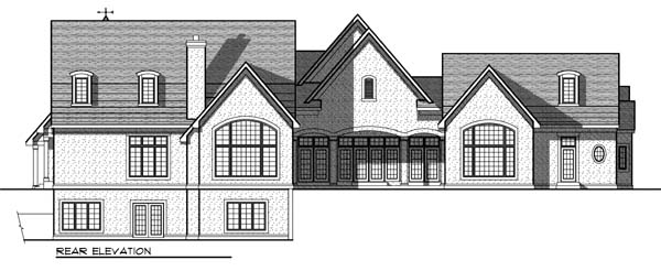 European , Tudor House Plan 73030 with 4 Beds, 6 Baths, 3 Car Garage Rear Elevation
