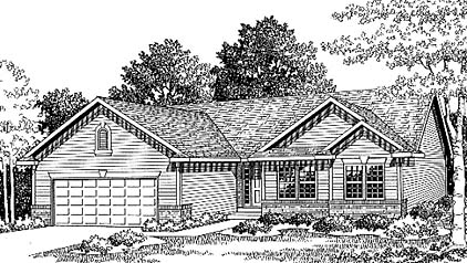 House Plan 73031 | Traditional Style Plan with 1370 Sq Ft, 3 Bedrooms, 2 Bathrooms, 2 Car Garage Elevation