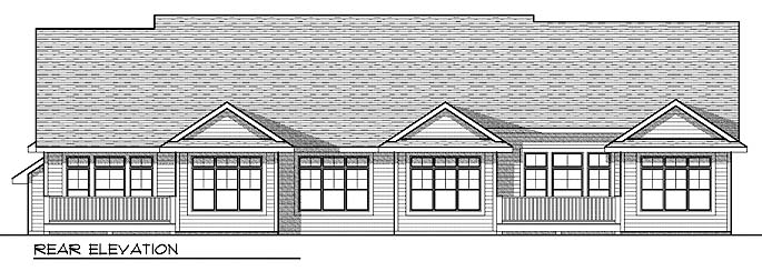 Traditional Multi-Family Plan 73033 Rear Elevation