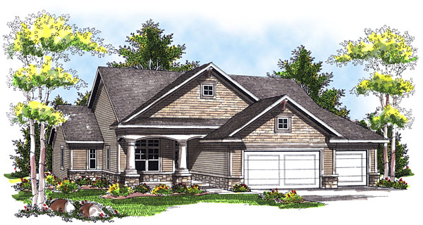 One-Story House Plan 73034 with 3 Beds, 3 Baths, 3 Car Garage Elevation