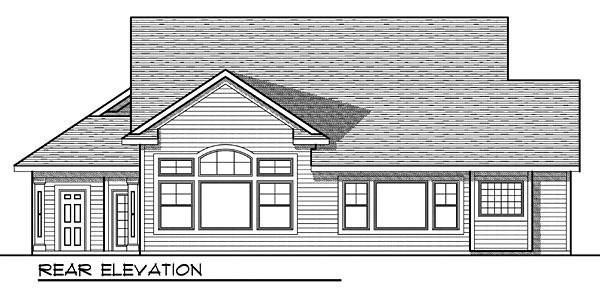 One-Story Rear Elevation of Plan 73034