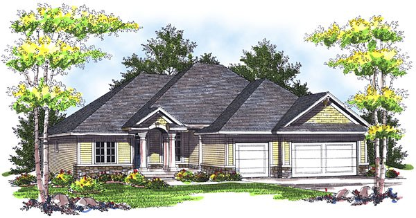 One-Story House Plan 73039 with 3 Beds, 2 Baths, 3 Car Garage Elevation