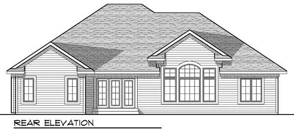 One-Story , Rear Elevation of Plan 73039