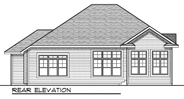 One-Story Rear Elevation of Plan 73040