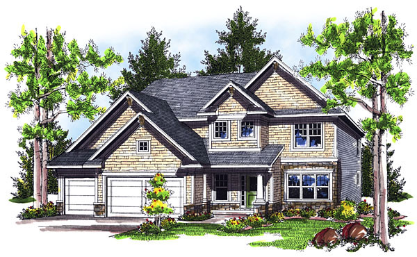 House Plan 73043 with 4 Beds, 4 Baths, 3 Car Garage Front Elevation