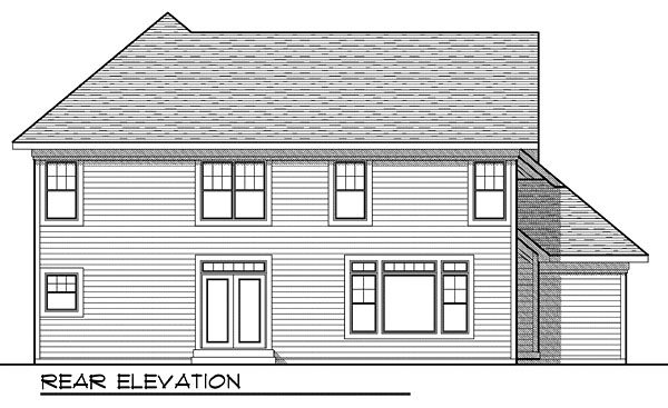 House Plan 73043 with 4 Beds, 4 Baths, 3 Car Garage Rear Elevation