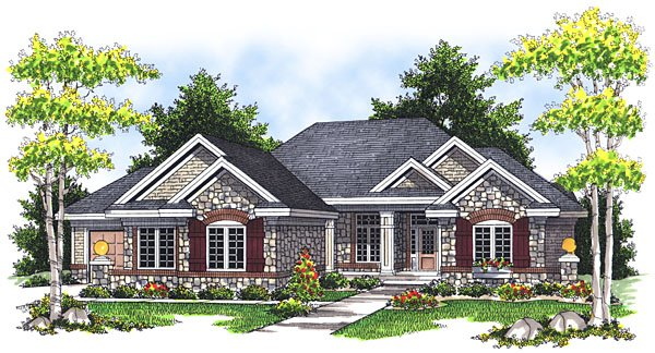House Plan 73044 with 3 Beds, 2 Baths, 3 Car Garage Elevation