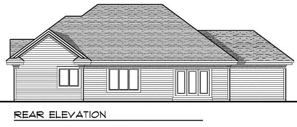 House Plan 73044 with 3 Beds, 2 Baths, 3 Car Garage Rear Elevation