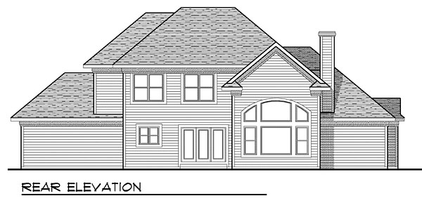 House Plan 73046 with 4 Beds, 4 Baths, 3 Car Garage Rear Elevation