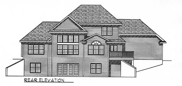 Traditional House Plan 73054 with 3 Beds, 3 Baths, 3 Car Garage Rear Elevation