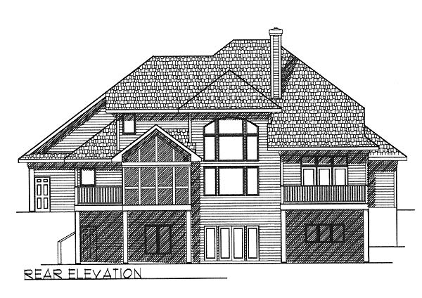 European House Plan 73055 Rear Elevation