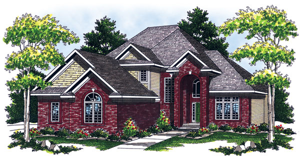 European House Plan 73056 with 3 Beds, 3 Baths, 3 Car Garage Elevation