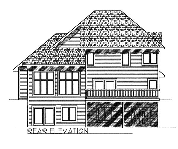 European House Plan 73056 with 3 Beds, 3 Baths, 3 Car Garage Rear Elevation