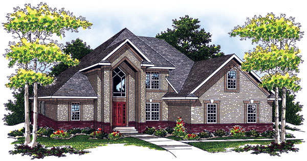 European , Traditional House Plan 73057 with 3 Beds, 3 Baths, 2 Car Garage Elevation