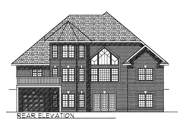 European , Traditional House Plan 73057 with 3 Beds, 3 Baths, 2 Car Garage Rear Elevation