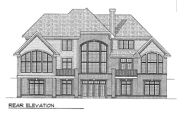 European Tudor House Plan 73058 Rear Elevation