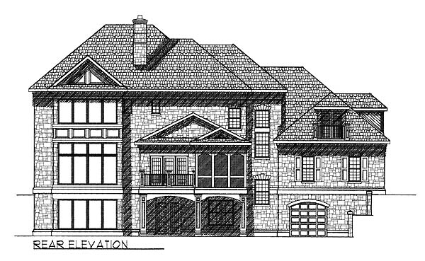 Colonial , European House Plan 73060 with 4 Beds, 5 Baths, 4 Car Garage Rear Elevation