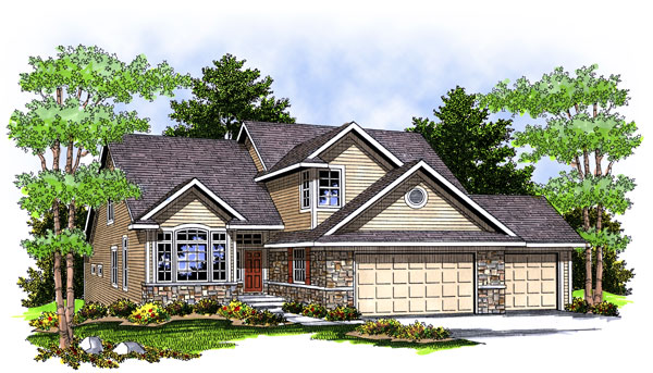 Traditional House Plan 73064 with 4 Beds, 3 Baths, 3 Car Garage Elevation