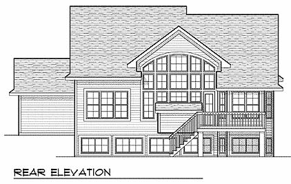 Traditional House Plan 73064 with 4 Beds, 3 Baths, 3 Car Garage Rear Elevation