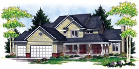 House Plan 73066 | Country Style Plan with 2508 Sq Ft, 3 Bedrooms, 3 Bathrooms, 4 Car Garage Elevation