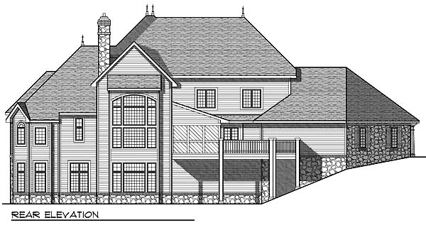 European Tudor House Plan 73067 Rear Elevation