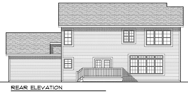 Traditional Rear Elevation of Plan 73070