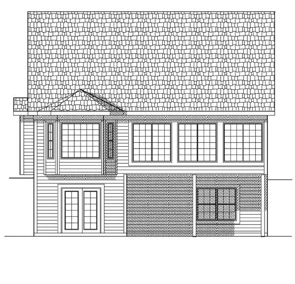 House Plan 73075 with 3 Beds, 3 Baths, 2 Car Garage Rear Elevation