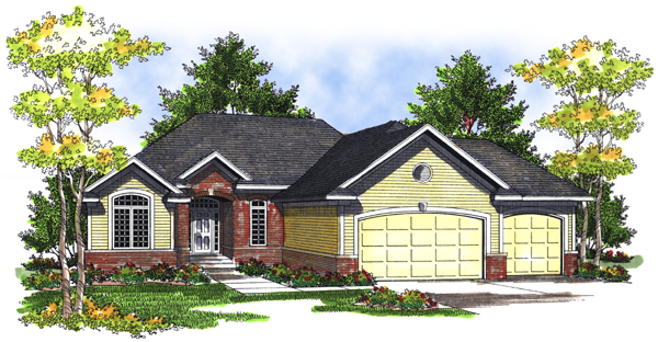 One-Story Elevation of Plan 73080
