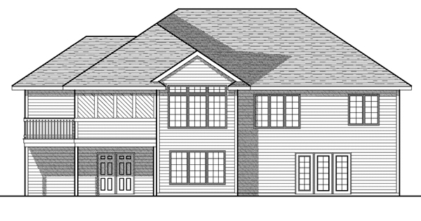One-Story Rear Elevation of Plan 73080