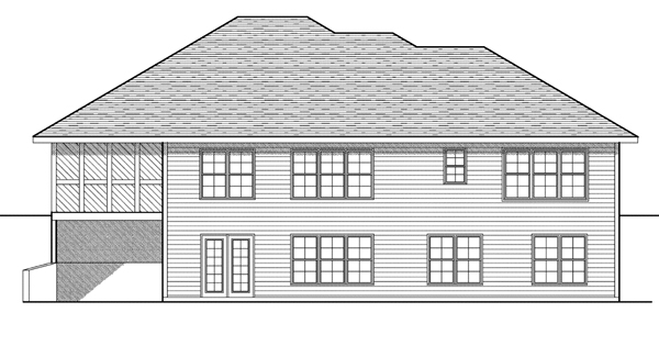 One-Story Rear Elevation of Plan 73081
