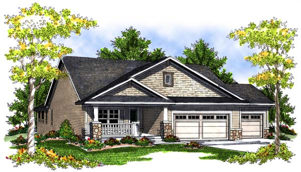 One-Story House Plan 73083 with 4 Beds, 3 Baths, 3 Car Garage Elevation