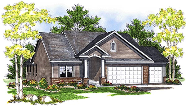 One-Story Elevation of Plan 73086