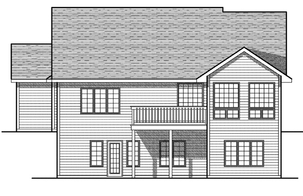 One-Story Rear Elevation of Plan 73086