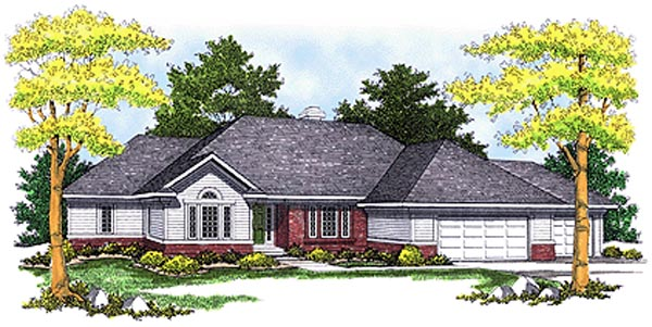 House Plan 73087 with 3 Beds, 4 Baths, 3 Car Garage Elevation