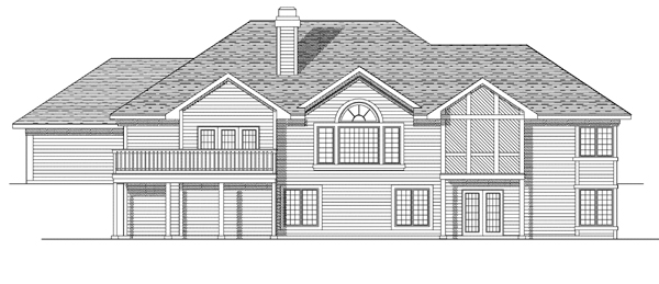 House Plan 73087 with 3 Beds, 4 Baths, 3 Car Garage Rear Elevation