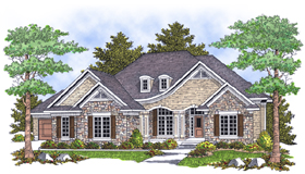 House Plan 73104 | European Style Plan with 3600 Sq Ft, 4 Bedrooms, 3 Bathrooms, 3 Car Garage Elevation