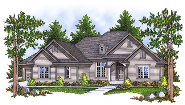 Traditional House Plan 73107 with 4 Beds, 3 Baths, 3 Car Garage Elevation