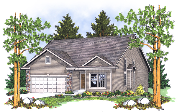 Traditional House Plan 73117 with 3 Beds, 3 Baths, 2 Car Garage Elevation