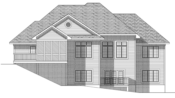 European House Plan 73123 Rear Elevation