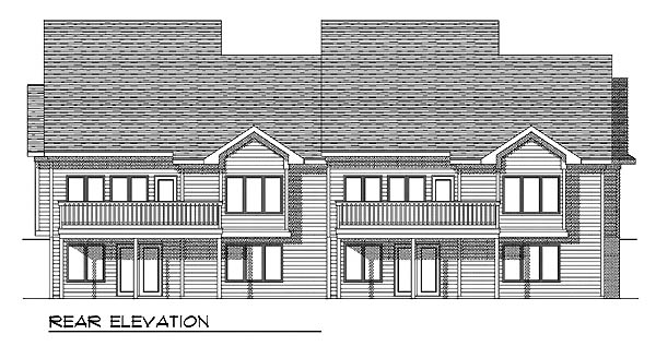Traditional Multi-Family Plan 73128 with 4 Beds, 4 Baths, 4 Car Garage Rear Elevation