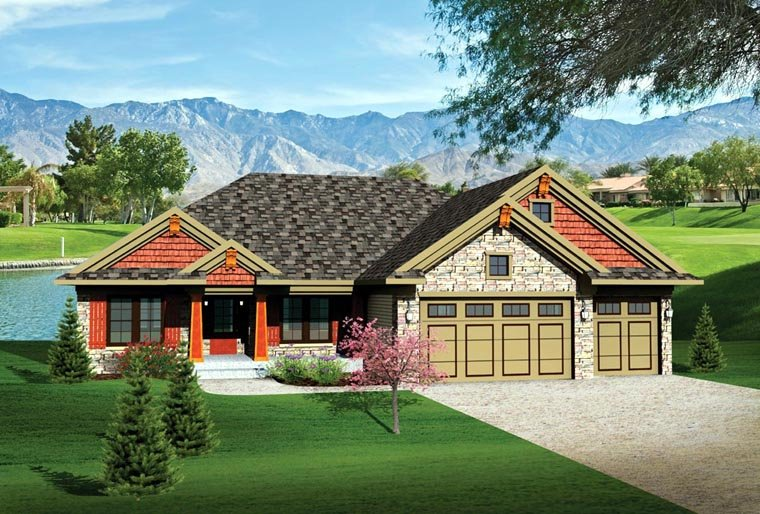 Bungalow, Craftsman, Ranch, Traditional House Plan 73135 with 3 Beds, 2 Baths, 3 Car Garage Elevation